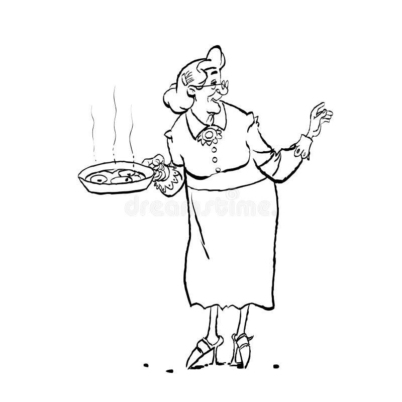 Μαγείρεμα Grandma Κινούμενα σχέδια μιας παλαιάς γιαγιάς που κρατά ένα τηγάνι διανυσματική απεικόνιση