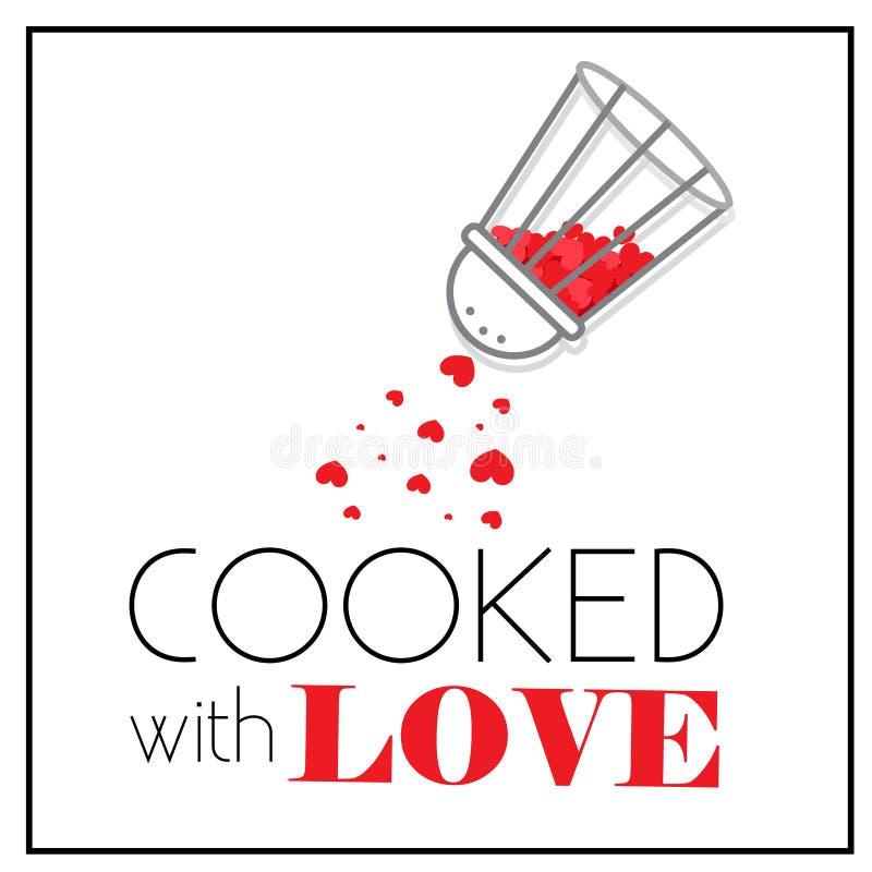Μαγειρευμένος με την αγάπη Δονητής πιπεριερών με τις μικρές κόκκινες καρδιές Καρυκευμένος της αγάπης διανυσματική απεικόνιση