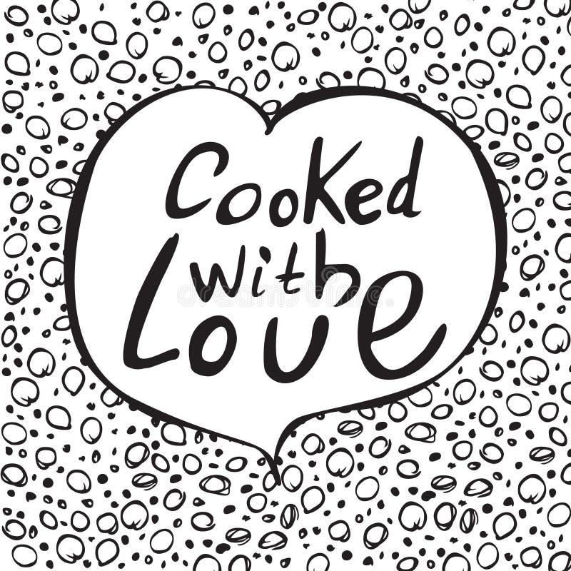 Μαγειρευμένος με την αγάπη Μοναδική συρμένη χέρι γράφοντας αφίσα απεικόνιση αποθεμάτων
