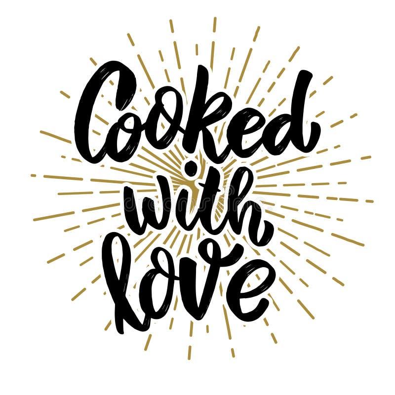 Μαγειρευμένος με την αγάπη Φράση εγγραφής στο άσπρο υπόβαθρο Στοιχείο σχεδίου για την αφίσα, κάρτα, έμβλημα διανυσματική απεικόνιση