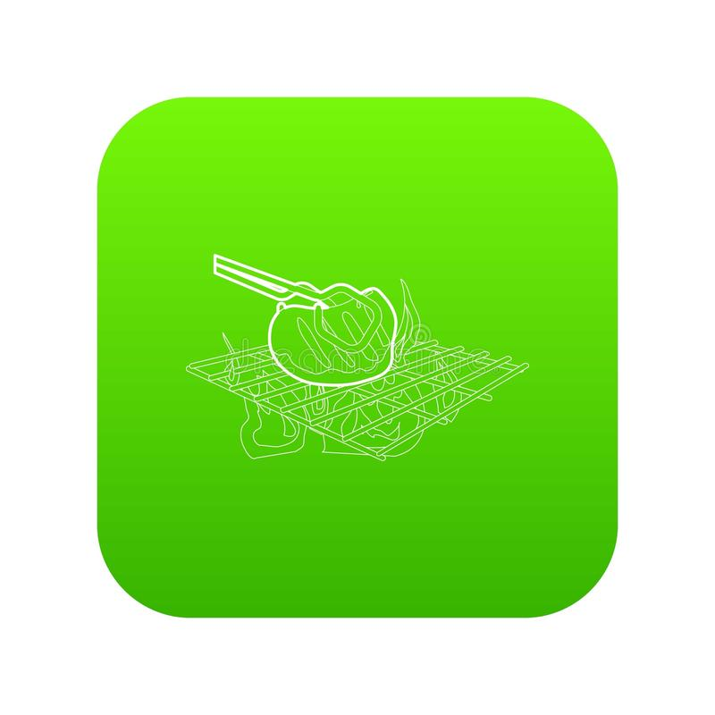 Μαγειρεύοντας βόειο κρέας στο πράσινο διάνυσμα εικονιδίων σχαρών ελεύθερη απεικόνιση δικαιώματος