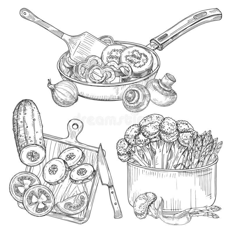 Μαγειρεύοντας διανυσματική απεικόνιση σκίτσων λαχανικών, πιάτων και λαχανικών απεικόνιση αποθεμάτων