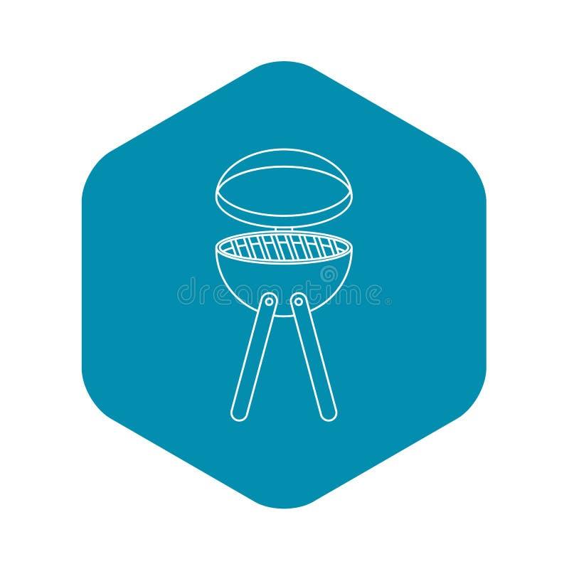 Μαγειρεύοντας εικονίδιο συσκευών σχαρών πικ-νίκ, ύφος περιλήψεων διανυσματική απεικόνιση