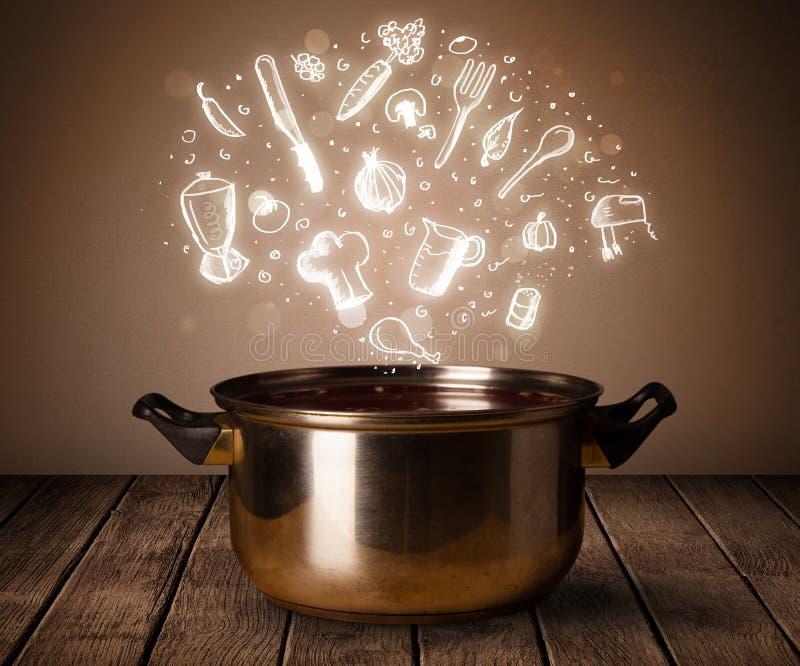 Μαγειρεύοντας εικονίδια που προέρχονται από το μαγείρεμα του δοχείου στοκ εικόνα με δικαίωμα ελεύθερης χρήσης