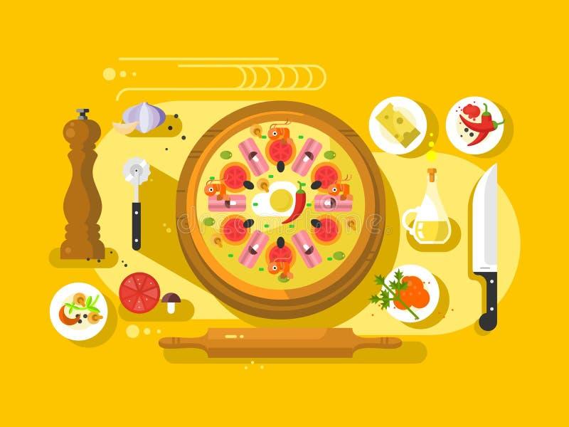 Μαγειρεύοντας επίπεδο σχεδίου πιτσών διανυσματική απεικόνιση