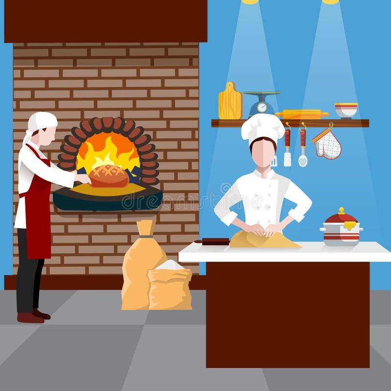 Μαγειρεύοντας ιπτάμενο ανθρώπων διανυσματική απεικόνιση