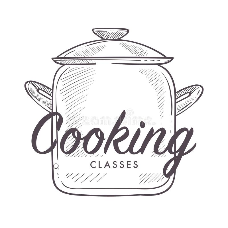 Μαγειρεύοντας κατηγορίες logotype μαγειρικών σχολικών σειρών μαθημάτων διανυσματική απεικόνιση
