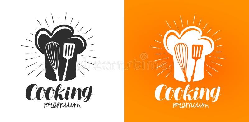 Μαγειρεύοντας λογότυπο ή ετικέτα Κουζίνα, εικονίδιο κουζινών Γράφοντας διανυσματική απεικόνιση διανυσματική απεικόνιση