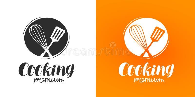 Μαγειρεύοντας λογότυπο ή ετικέτα Κουζίνα, εικονίδιο μαγειρικής επίσης corel σύρετε το διάνυσμα απεικόνισης ελεύθερη απεικόνιση δικαιώματος