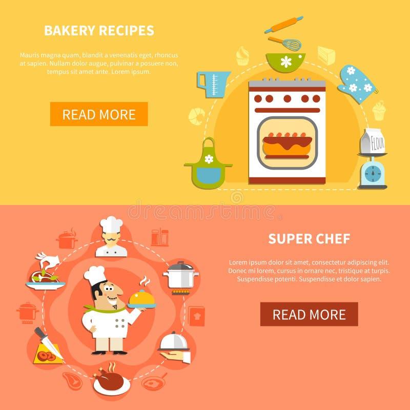 Μαγειρεύοντας οριζόντια εμβλήματα διανυσματική απεικόνιση