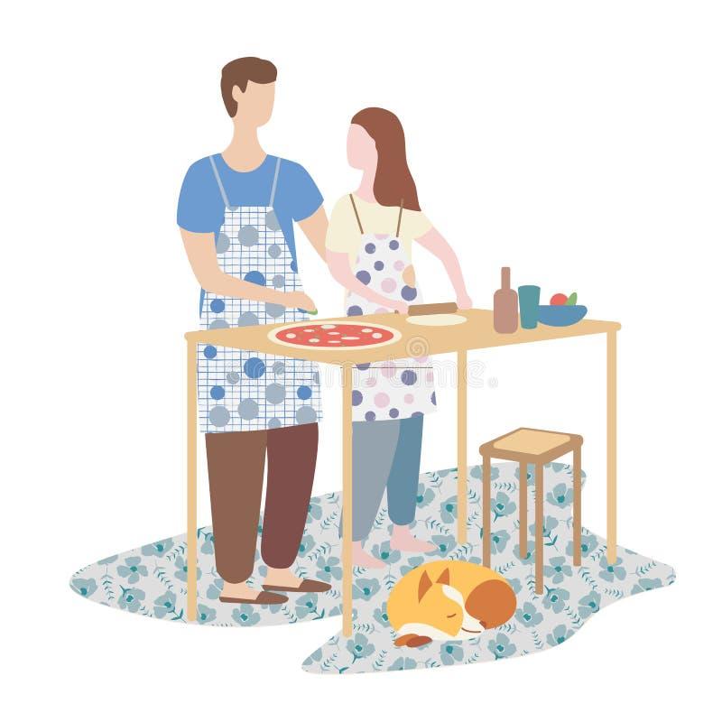 μαγειρεύοντας πίτσα γυναικών και ανδρών από κοινού οικογενειακό μαγείρεμα, Σαββατοκύριακο, εγχώρια ατμόσφαιρα ελεύθερη απεικόνιση δικαιώματος