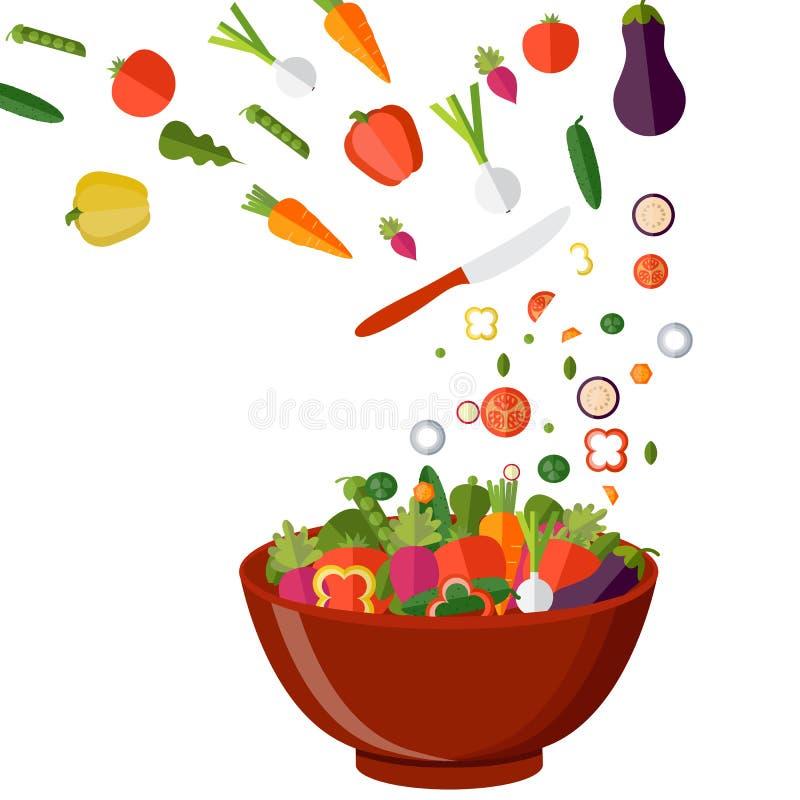 Μαγειρεύοντας σαλάτα με τα φρέσκα λαχανικά Επίπεδο ύφος διάνυσμα διανυσματική απεικόνιση