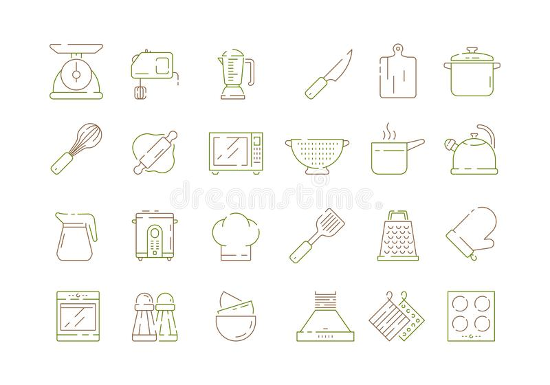 Μαγειρεύοντας στοιχεία κουζινών Μαχαιριών παν κουταλιών και δικράνων κουζίνας εργαλείων μικροκυμάτων ηλεκτρονικά εικονίδια γραμμώ απεικόνιση αποθεμάτων