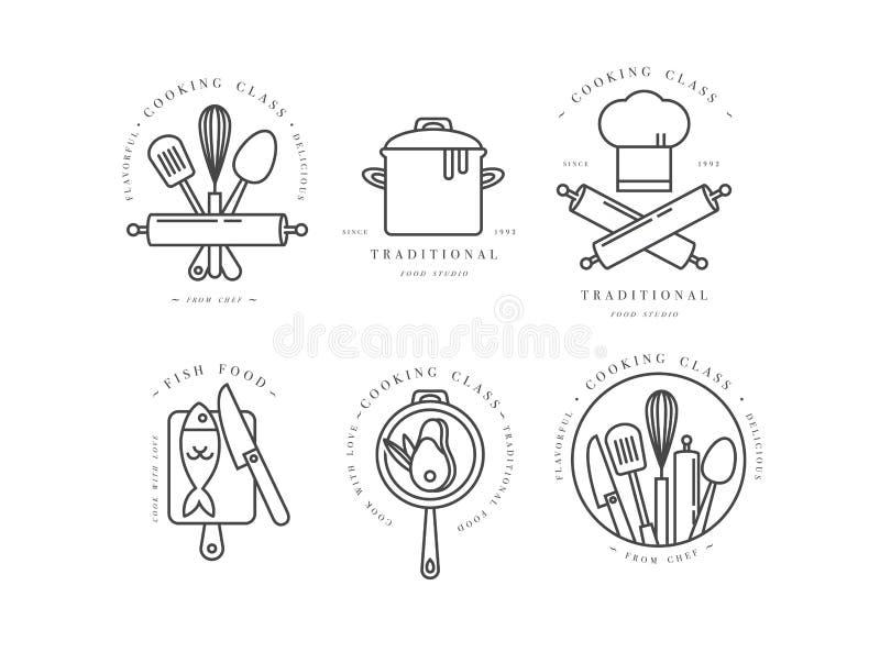 Μαγειρεύοντας στοιχεία σχεδίου κατηγορίας γραμμικά, εμβλήματα κουζινών, σύμβολα, εικονίδια ή ετικέτες στούντιο τροφίμων και συλλο απεικόνιση αποθεμάτων