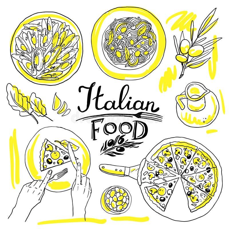 μαγειρεύοντας συστατικά ιταλικά τροφίμων απεικόνιση αποθεμάτων