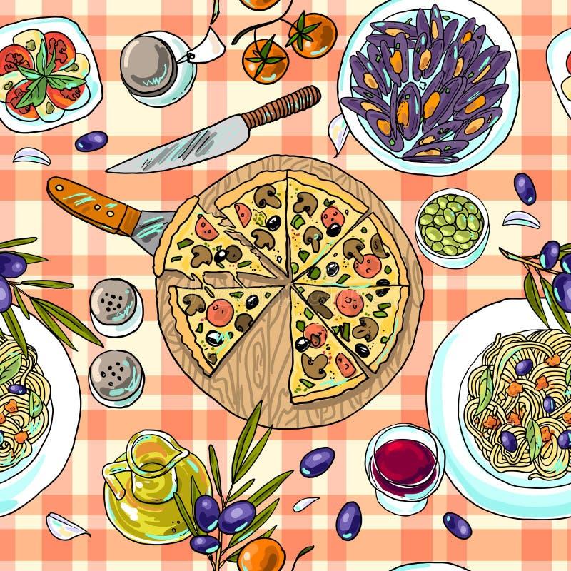 μαγειρεύοντας συστατικά ιταλικά τροφίμων διανυσματική απεικόνιση