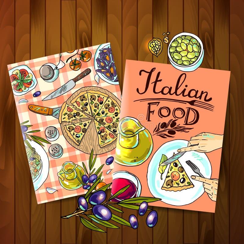 μαγειρεύοντας συστατικά ιταλικά τροφίμων ελεύθερη απεικόνιση δικαιώματος