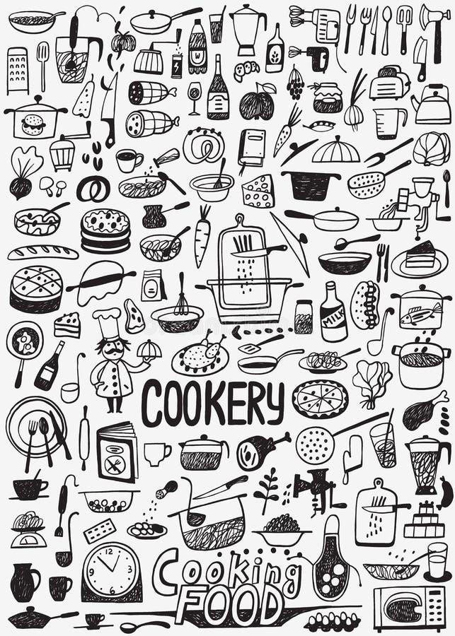 Μαγειρεύοντας τρόφιμα doodles ελεύθερη απεικόνιση δικαιώματος