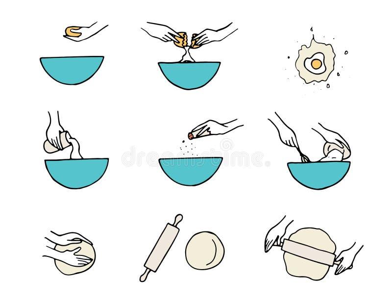 Μαγειρεύοντας χέρια Προετοιμασία ζύμης απεικόνιση αποθεμάτων