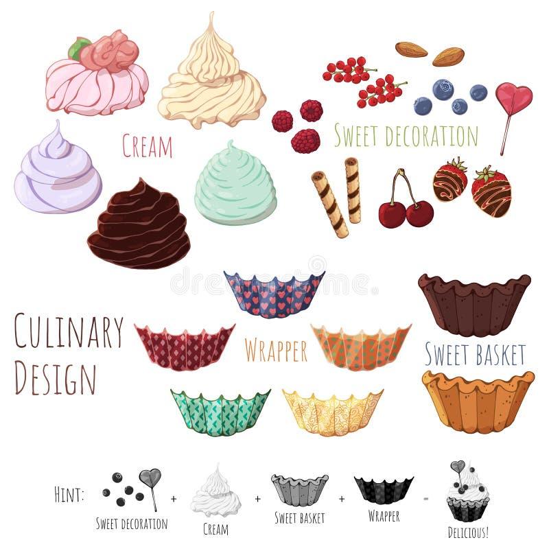 Μαγειρικά γλυκά buskets σχεδίου απεικόνιση αποθεμάτων