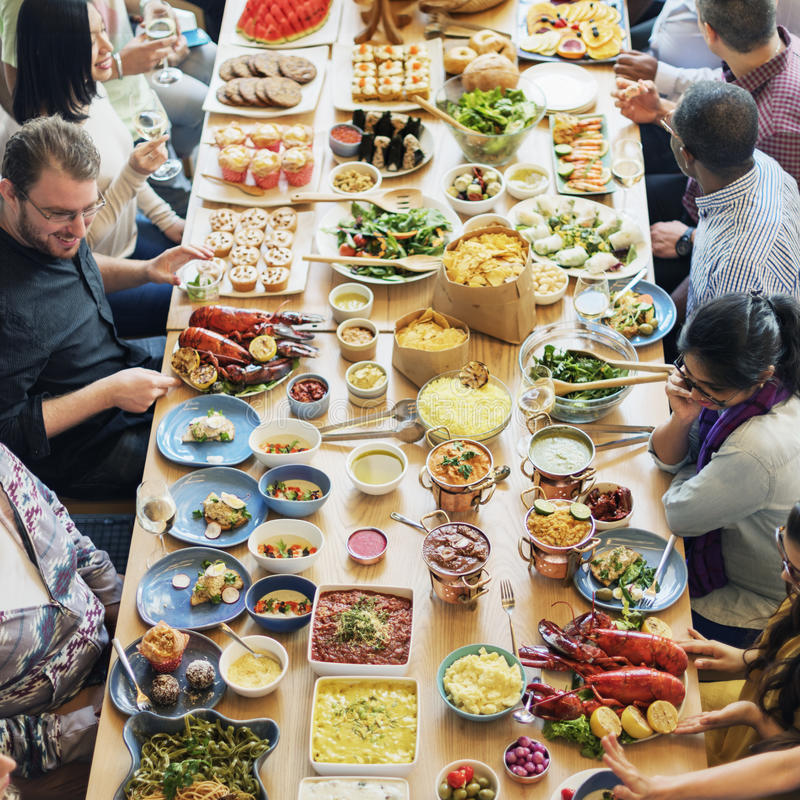 Μαγειρική γαστρονομική έννοια κόμματος μπουφέδων κουζίνας τομέα εστιάσεως τροφίμων στοκ εικόνες