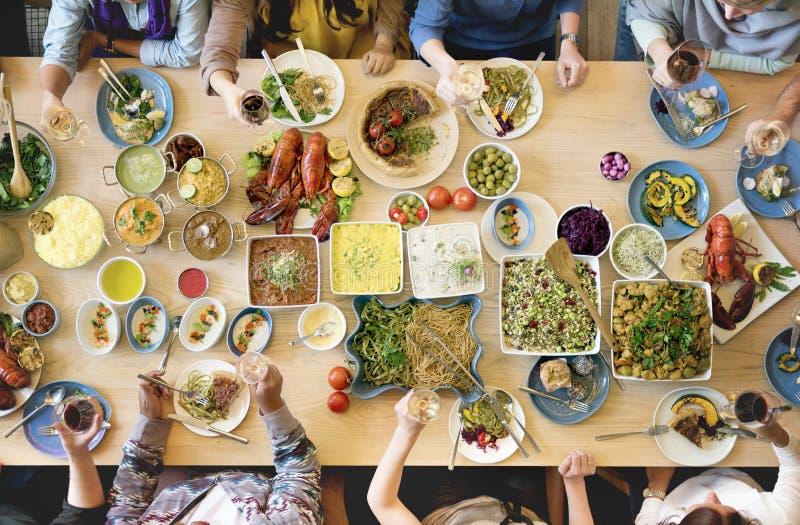 Μαγειρική γαστρονομική έννοια κόμματος μπουφέδων κουζίνας τομέα εστιάσεως τροφίμων στοκ φωτογραφίες