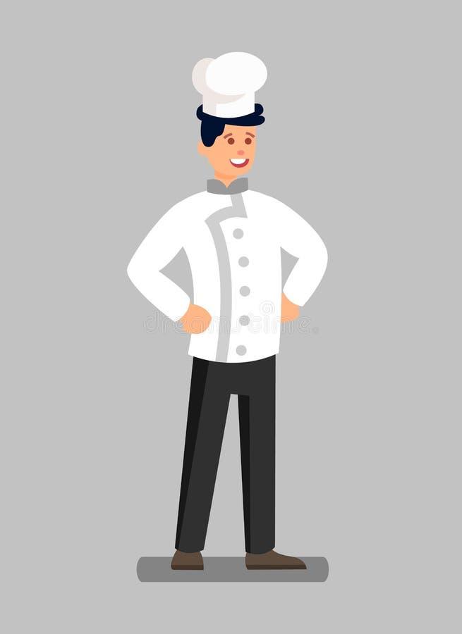 Μαγειρικός αρχιμάγειρας στον ομοιόμορφο επίπεδο διανυσματικό χαρακτήρα απεικόνιση αποθεμάτων