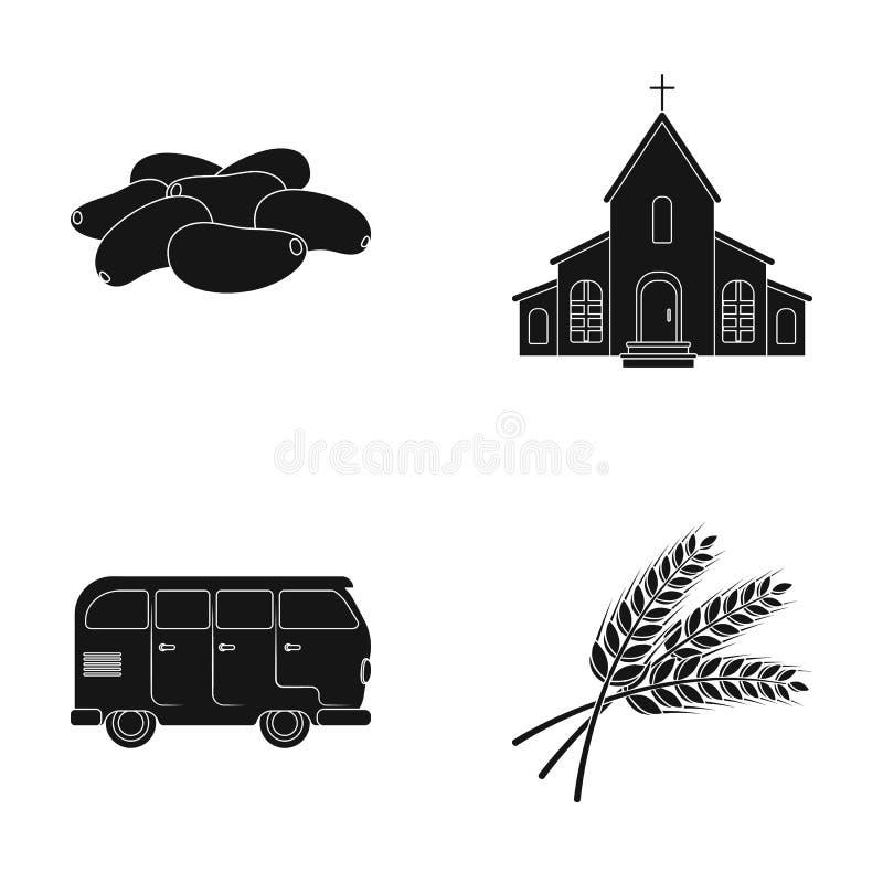 Μαγειρικός, θρησκεία και άλλο εικονίδιο Ιστού στο μαύρο ύφος μεταφορά, εικονίδια γεωργίας στην καθορισμένη συλλογή απεικόνιση αποθεμάτων