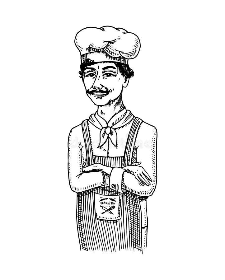 Μαγειρικός προϊστάμενος ή αρχιμάγειρας, αρτοποιός στην ποδιά Χαραγμένο χέρι που σύρεται διανυσματική απεικόνιση