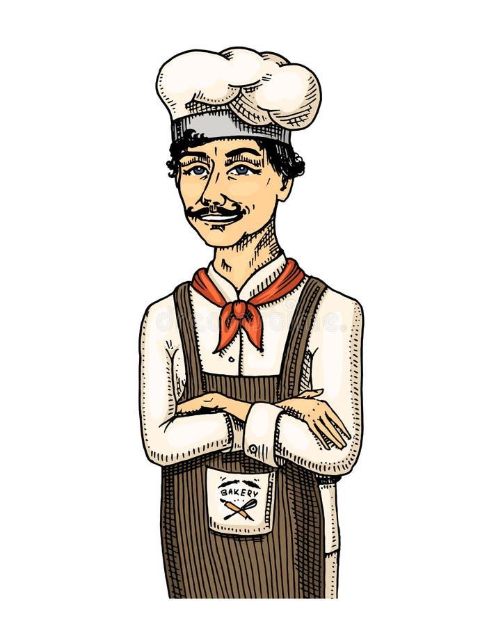 Μαγειρικός προϊστάμενος ή αρχιμάγειρας, αρτοποιός στην ποδιά χαραγμένο χέρι που σύρεται στο παλαιό σκίτσο και το εκλεκτής ποιότητ ελεύθερη απεικόνιση δικαιώματος