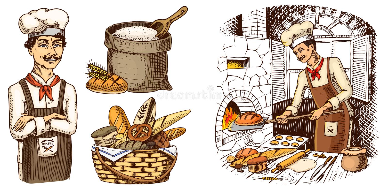 Μαγειρικός προϊστάμενος, κουζίνα αρχιμαγείρων, αρτοποιός στην ποδιά Τσάντα με το αλεύρι ή το καλάθι χαραγμένο χέρι που σύρεται στ απεικόνιση αποθεμάτων