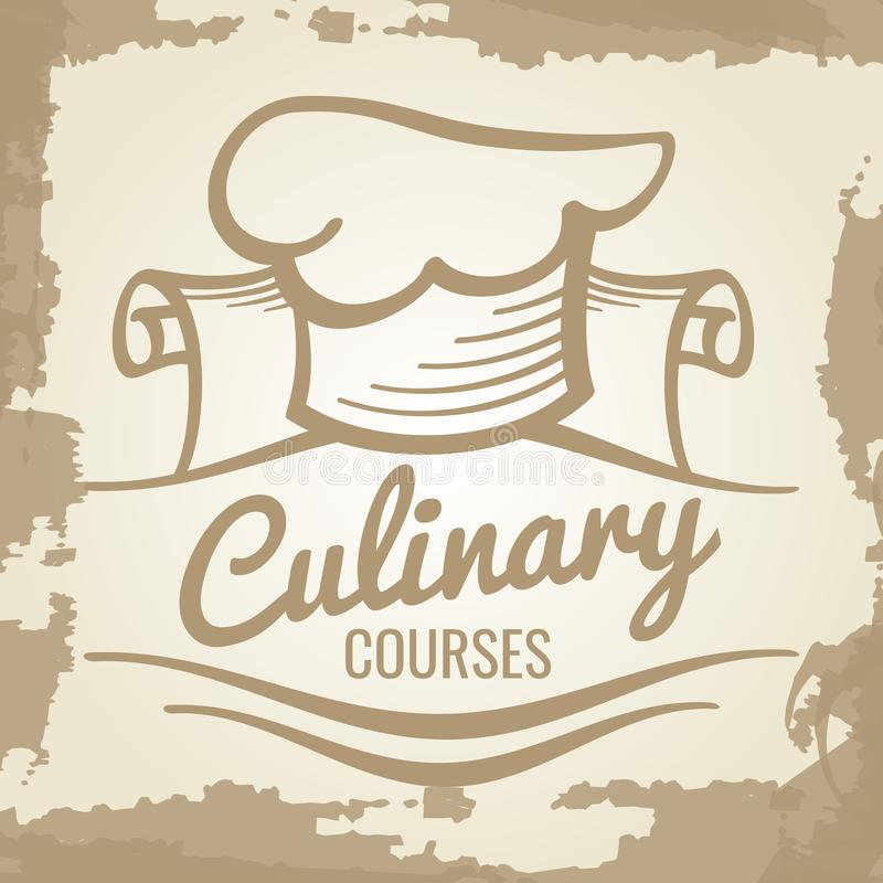 Μαγειρικό σχέδιο εμβλημάτων ή λογότυπων σειρών μαθημάτων grunge απεικόνιση αποθεμάτων