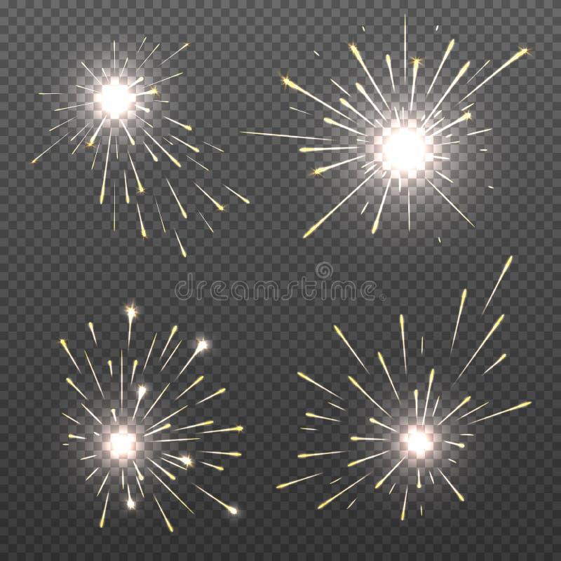 Μαγικά αποτελέσματα σπινθήρων, φω'τα καψίματος Βεγγάλη, sparkler διανυσματικό σύνολο πυρκαγιάς διανυσματική απεικόνιση