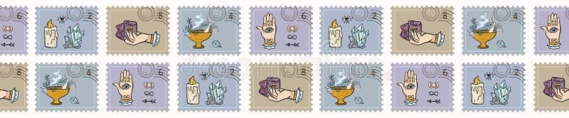 Μαγικά γραμματόσημα κρυστάλλου χαλαζία Συρμένα χέρι άνευ ραφής διανυσματικά σύνορα διανυσματική απεικόνιση