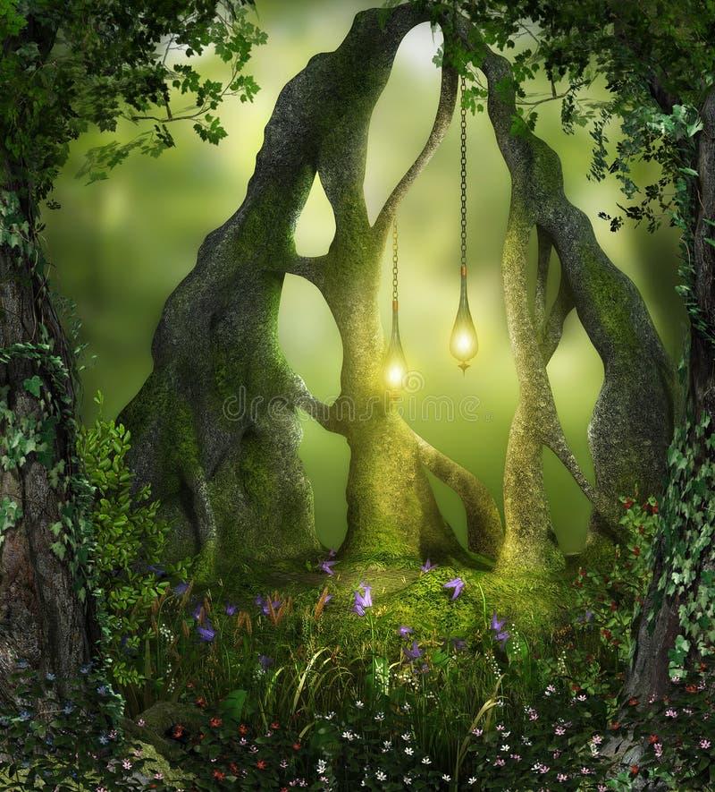 Μαγικά δασικά φω'τα νεράιδων στοκ φωτογραφίες