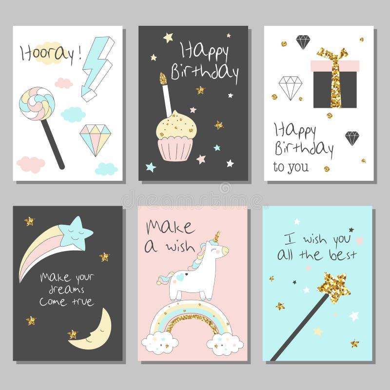 Μαγικές κάρτες σχεδίου που τίθενται με το μονόκερο, το ουράνιο τόξο, τις καρδιές, τα σύννεφα και άλλα στοιχεία ελεύθερη απεικόνιση δικαιώματος
