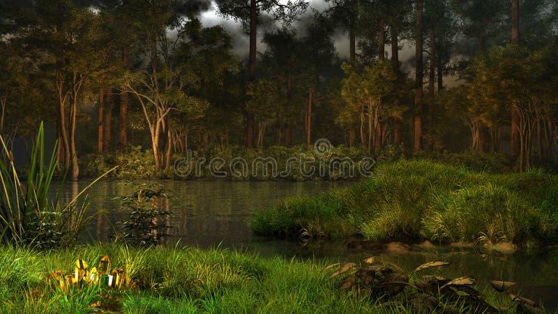Μαγική λίμνη στο δάσος ελεύθερη απεικόνιση δικαιώματος