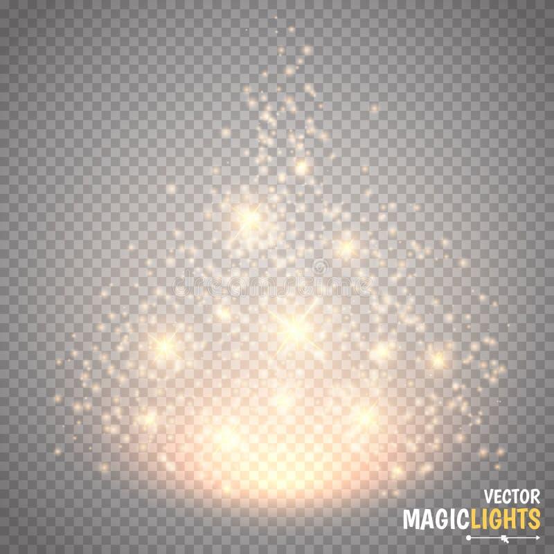 Μαγική ελαφριά διανυσματική επίδραση Φως ειδικό εφέ πυράκτωσης, φλόγα, αστέρι και απομονωμένος έκρηξη σπινθήρας ελεύθερη απεικόνιση δικαιώματος