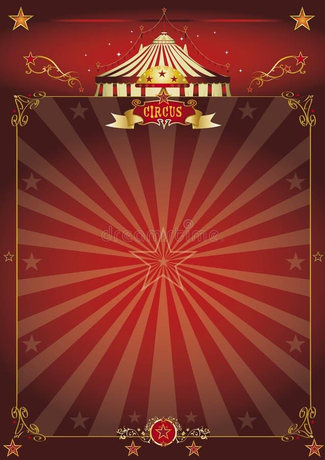 Μαγική κόκκινη αφίσα τσίρκων διανυσματική απεικόνιση