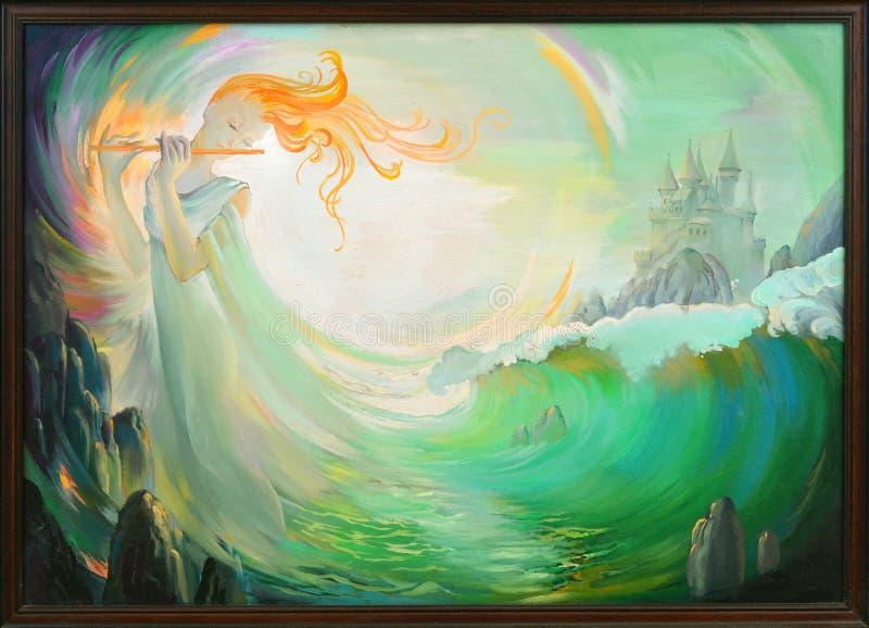 μαγική μουσική Πορτρέτο του όμορφου κοριτσιού που παίζει το φλάουτο στο περιβάλλον φαντασίας Ελαιογραφία στον καμβά διανυσματική απεικόνιση