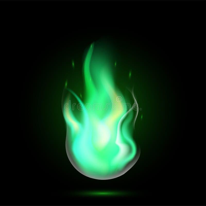 Μαγική πράσινη φλόγα βολίδων διανυσματική απεικόνιση