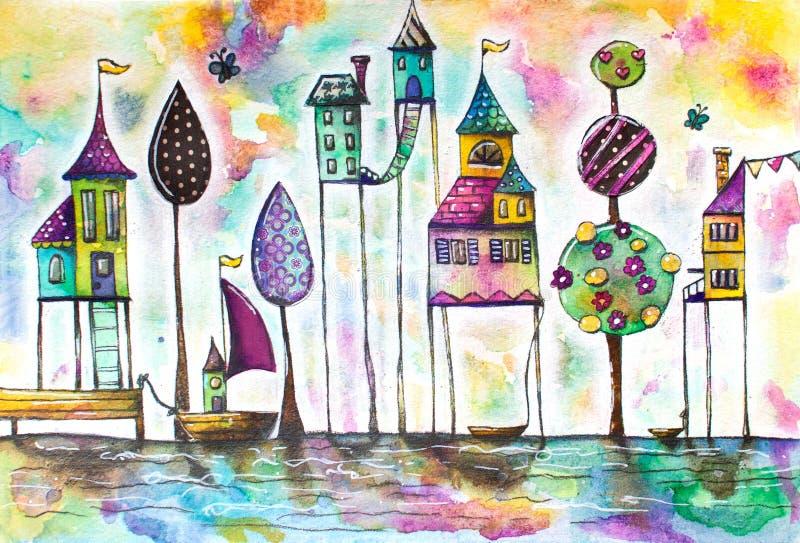 Μαγική πόλη σπιτιών Watercolor, οδός απεικόνιση αποθεμάτων