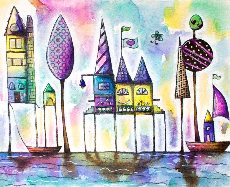 Μαγική πόλη σπιτιών Watercolor, οδός ελεύθερη απεικόνιση δικαιώματος