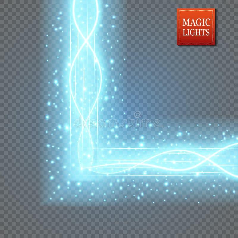 Μαγική πύλη φαντασίας Φουτουριστικό teleport Ελαφριά επίδραση Μπλε ακτίνες κεριών μιας σκηνής νύχτας με τους σπινθήρες σε έναν δι διανυσματική απεικόνιση