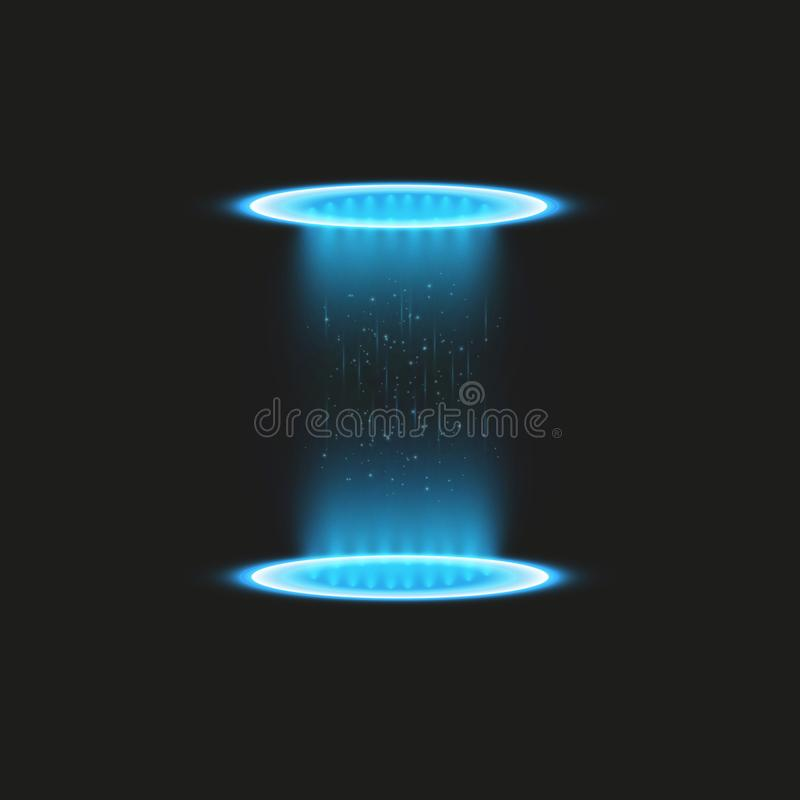 Μαγική πύλη φαντασίας Φουτουριστικό teleport Ελαφριά επίδραση Μπλε ακτίνες κεριών μιας σκηνής νύχτας με τους σπινθήρες σε έναν δι ελεύθερη απεικόνιση δικαιώματος