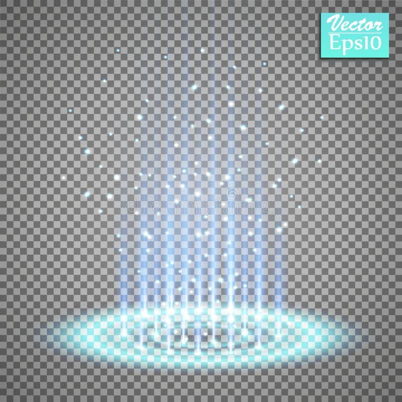 Μαγική πύλη φαντασίας Φουτουριστικό teleport Ελαφριά επίδραση Μπλε ακτίνες κεριών μιας σκηνής νύχτας με τους σπινθήρες σε έναν δι απεικόνιση αποθεμάτων
