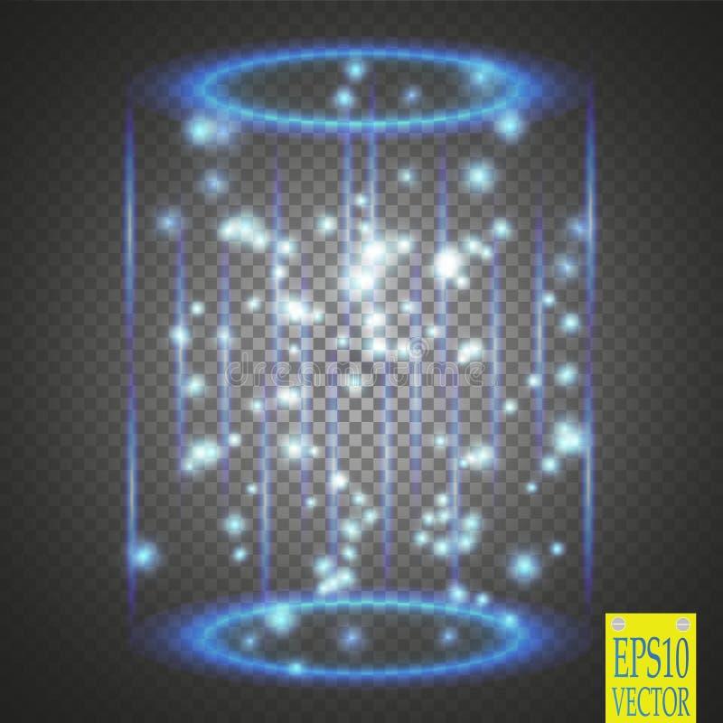 Μαγική πύλη φαντασίας Φουτουριστικό teleport Ελαφριά επίδραση διανυσματική απεικόνιση