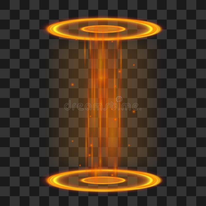 Μαγική πύλη Φουτουριστικές πορτοκάλι και βιολέτα teleport Διανυσματική ελαφριά επίδραση φαντασίας διανυσματική απεικόνιση