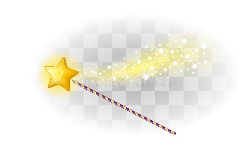 Μαγική ράβδος με το αστέρι και τα σπινθηρίσματα διανυσματική απεικόνιση