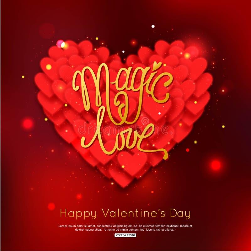ΜΑΓΙΚΗ ΑΓΑΠΗ - ευχετήρια κάρτα ημέρας βαλεντίνων ευτυχείς βαλεντίνοι ημέ&rho απεικόνιση αποθεμάτων